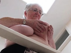 Granny licks their boobs