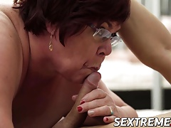 Lusty grandma takes a giant load of jism in her mouth