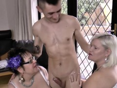 Two horny cougars use the electrician