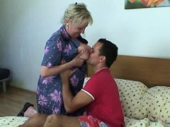Guy picks up and big-boobed granny for sex