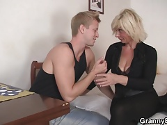 Hunky fellow doggy-fucks hot platinum-blonde grandma