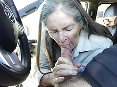 Grandma inhales in the car