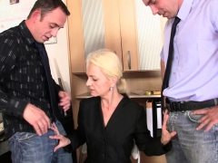 Old skinny blonde grandmother  penetration